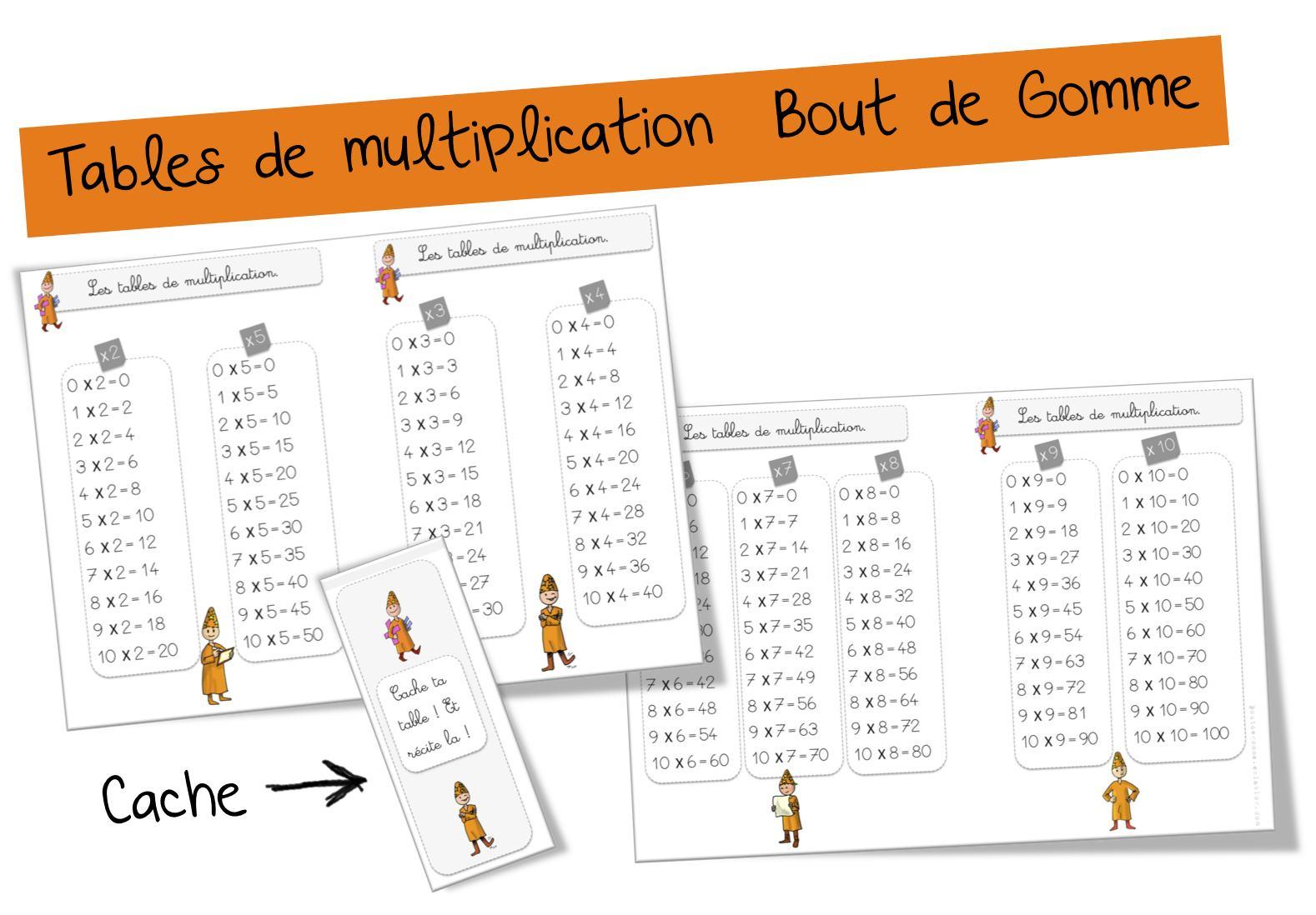 Tables De Multiplication | Bout De Gomme encequiconcerne Tables Multiplication À Imprimer