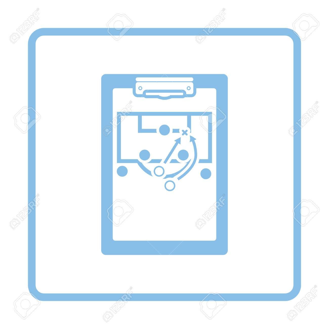 Tablette Entraîneur De Football Avec Schéma De L'icône Du Jeu. Conception  De Cadre Bleu. Illustration Vectorielle destiné Jeux Foot Tablette