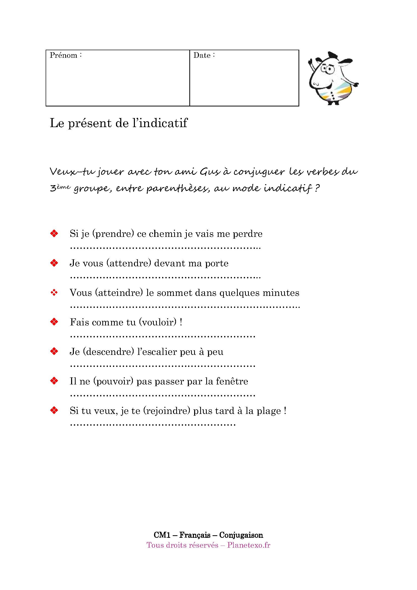 Télécharger Exercice De Français 3Ème À Imprimer Pdf | 48 à Exercice Cm1 Conjugaison À Imprimer
