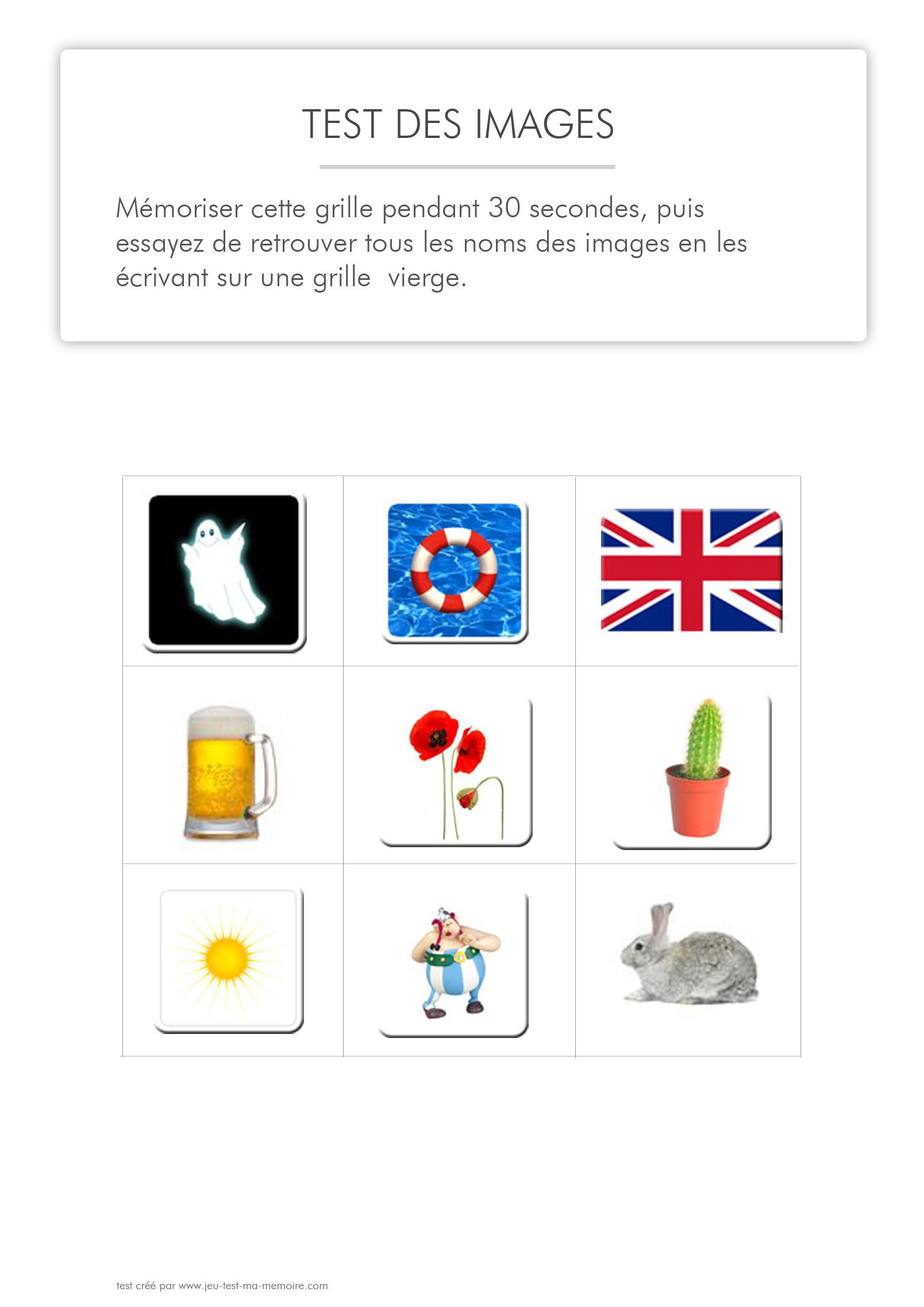 Tests De Mémoire À Imprimer - Images (Série 1) avec Jeux De Mémoire À Imprimer Pour Adultes