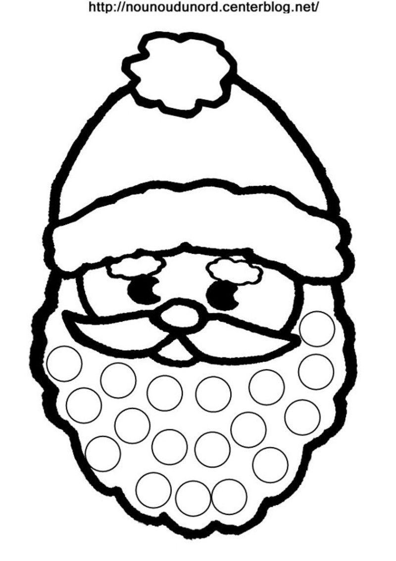 Tête Père Noël Coloriage, Gommettes Ou Le Visage De L'enfant à Pere Noel À Colorier Et Imprimer