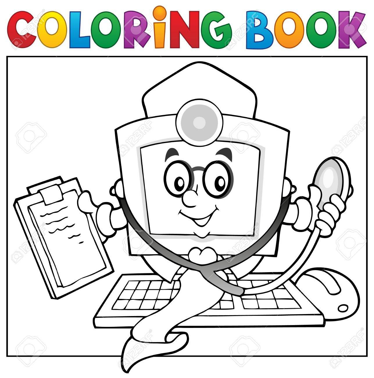 Thème De Médecin De L'ordinateur De Livre De Coloriage concernant Dessin À Colorier Sur L Ordinateur