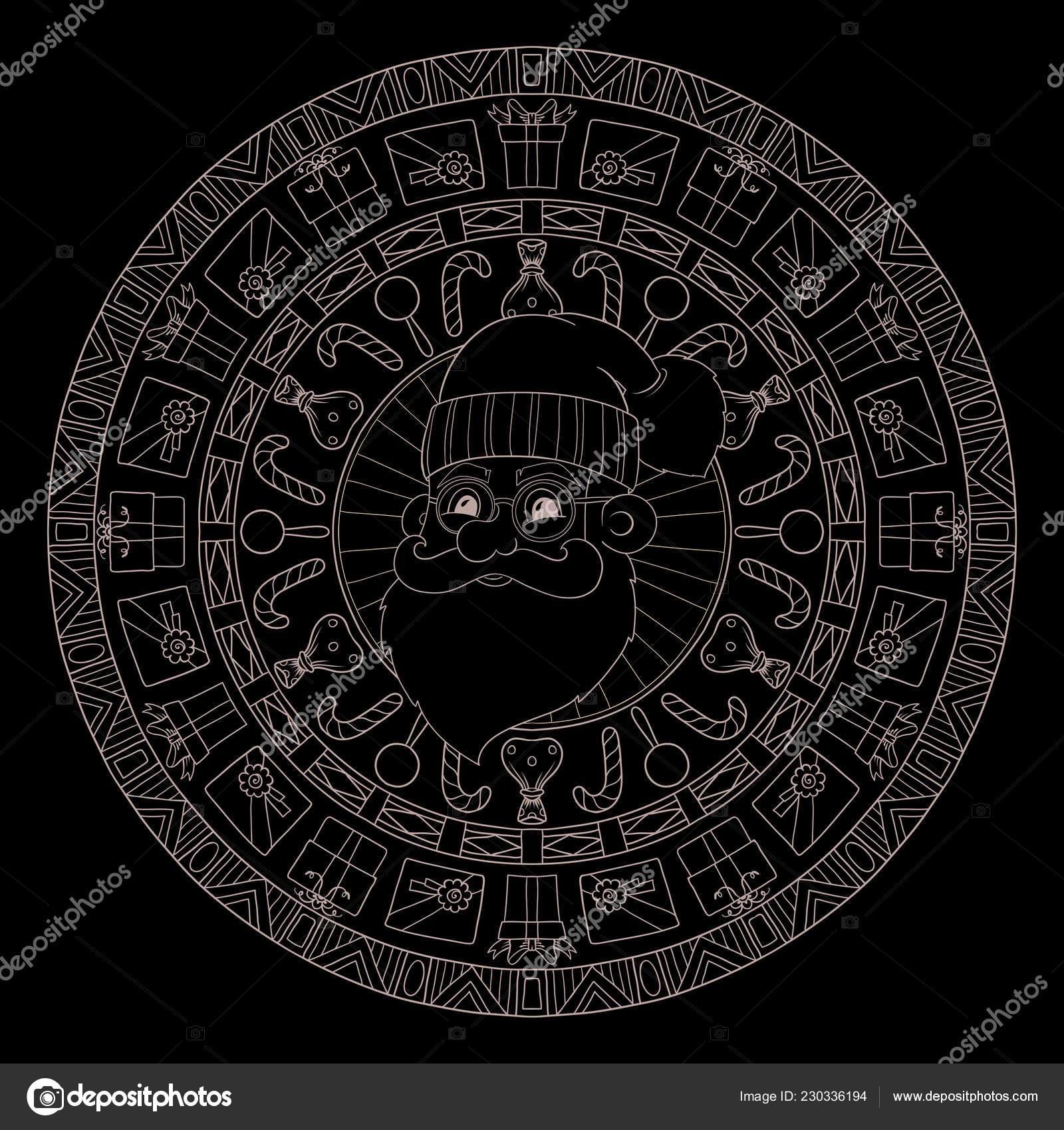 Thème Noël Nouvel Noir Blanc Graphique Doodle Mandala intérieur Coloriage Graphique