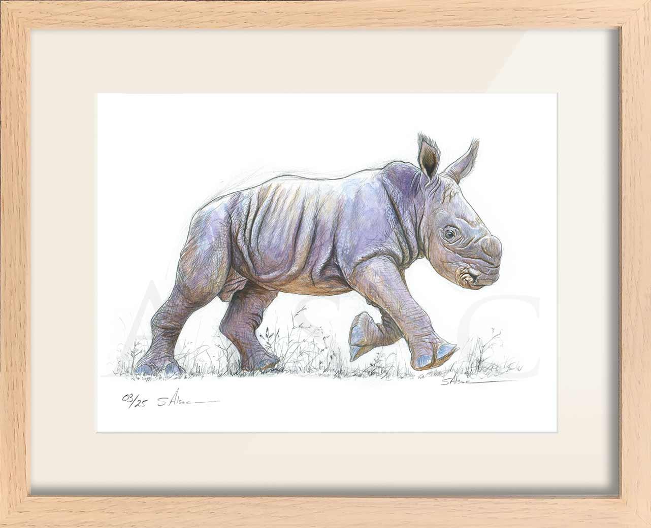Tirage-Art-Reproduction-Dessin-Rhino-Bebe - Stéphane Alsac pour Image De Dessin A Reproduire