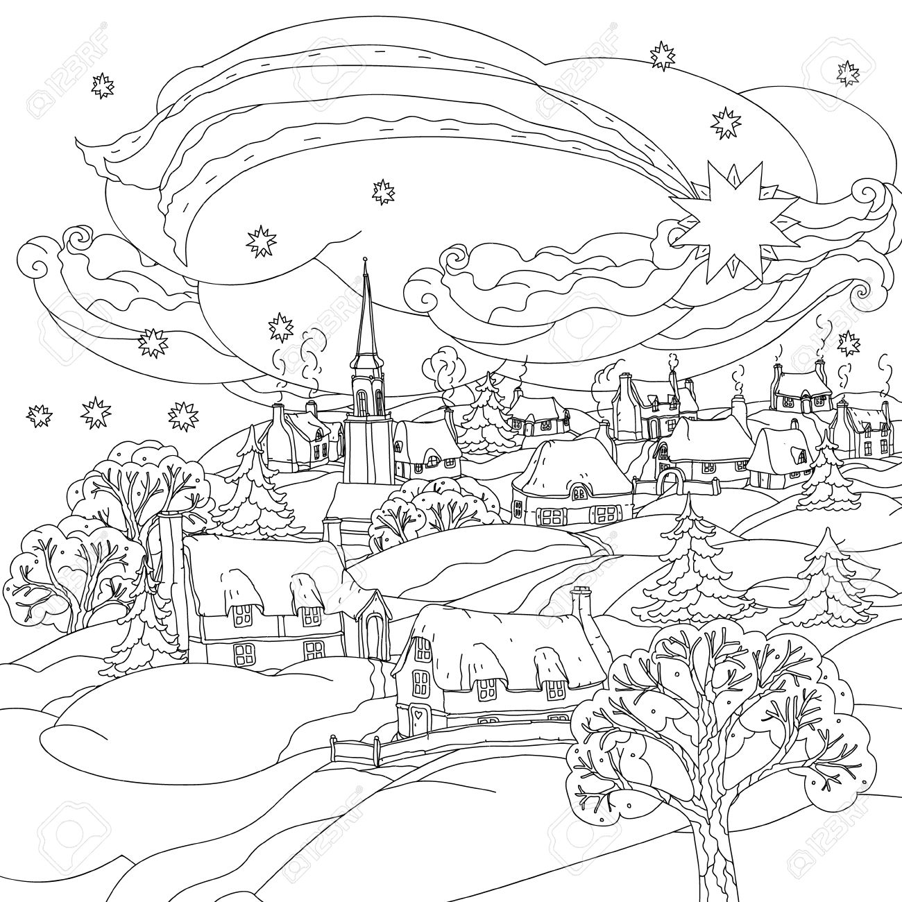 Toile De Noël Survole Le Village D'hiver, Noir Et Blanc. Zentangle Patters.  Le Meilleur Pour Votre Design, Textiles, Affiches, Cahier De Coloriage pour Coloriage Village De Noel