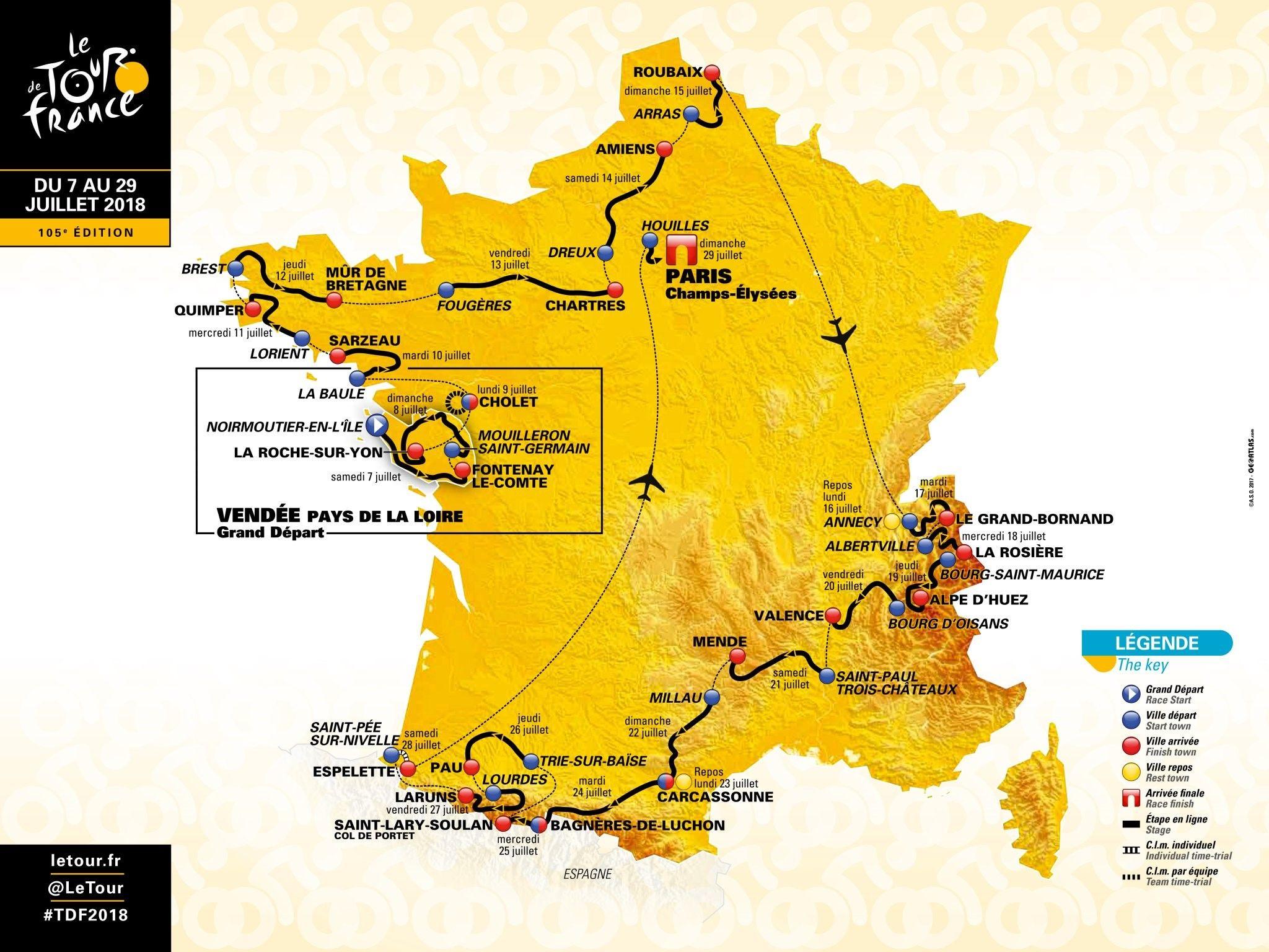Tour De France 2018 Rotası Açıklandı - Fransa Bisiklet Turu serapportantà Image De La Carte De France