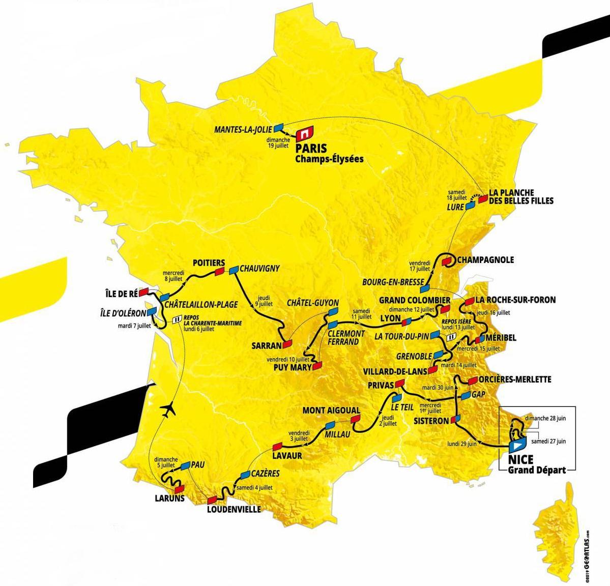 Tour De France 2020 - Parcours Détaillé Carte Profil Villes encequiconcerne Carte Des Villes De France Détaillée