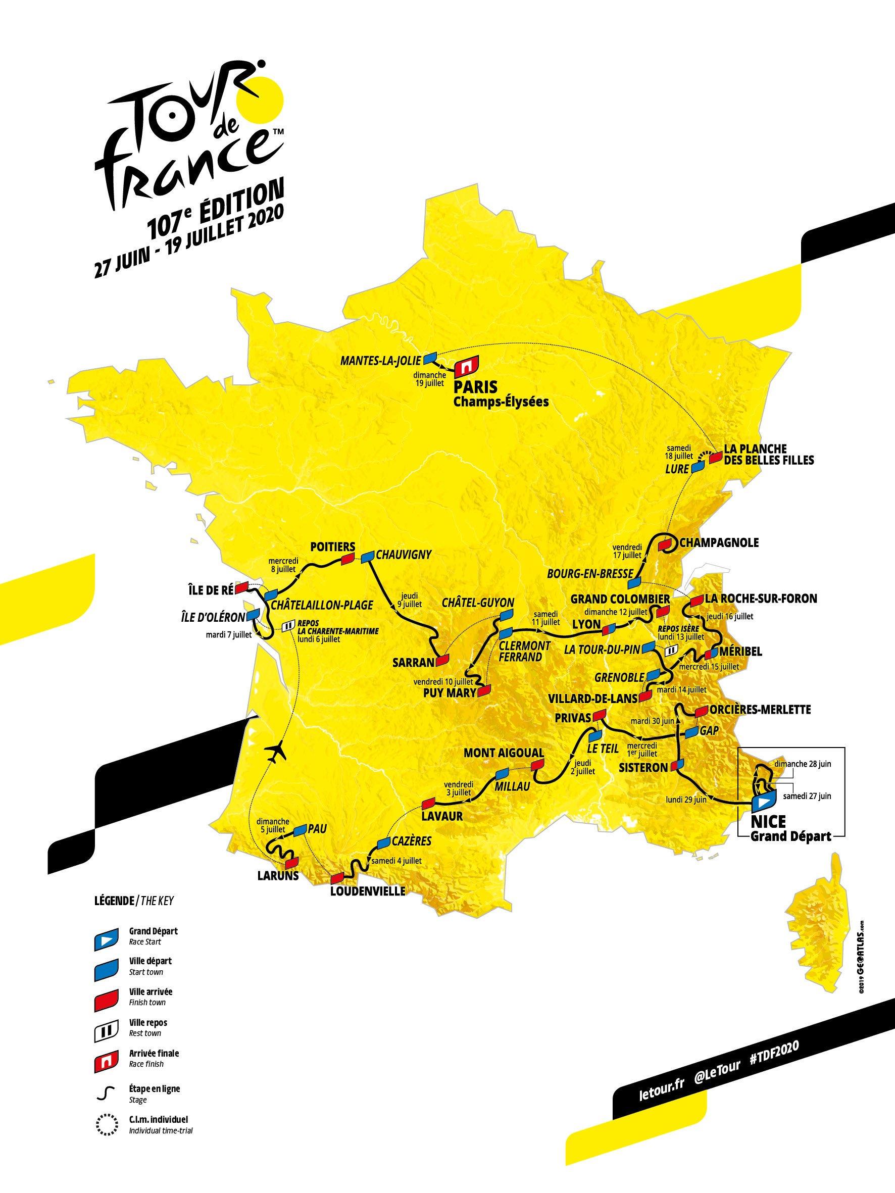 Tour De France 2020 Route Revealed | Cyclingnews concernant Grande Carte De France