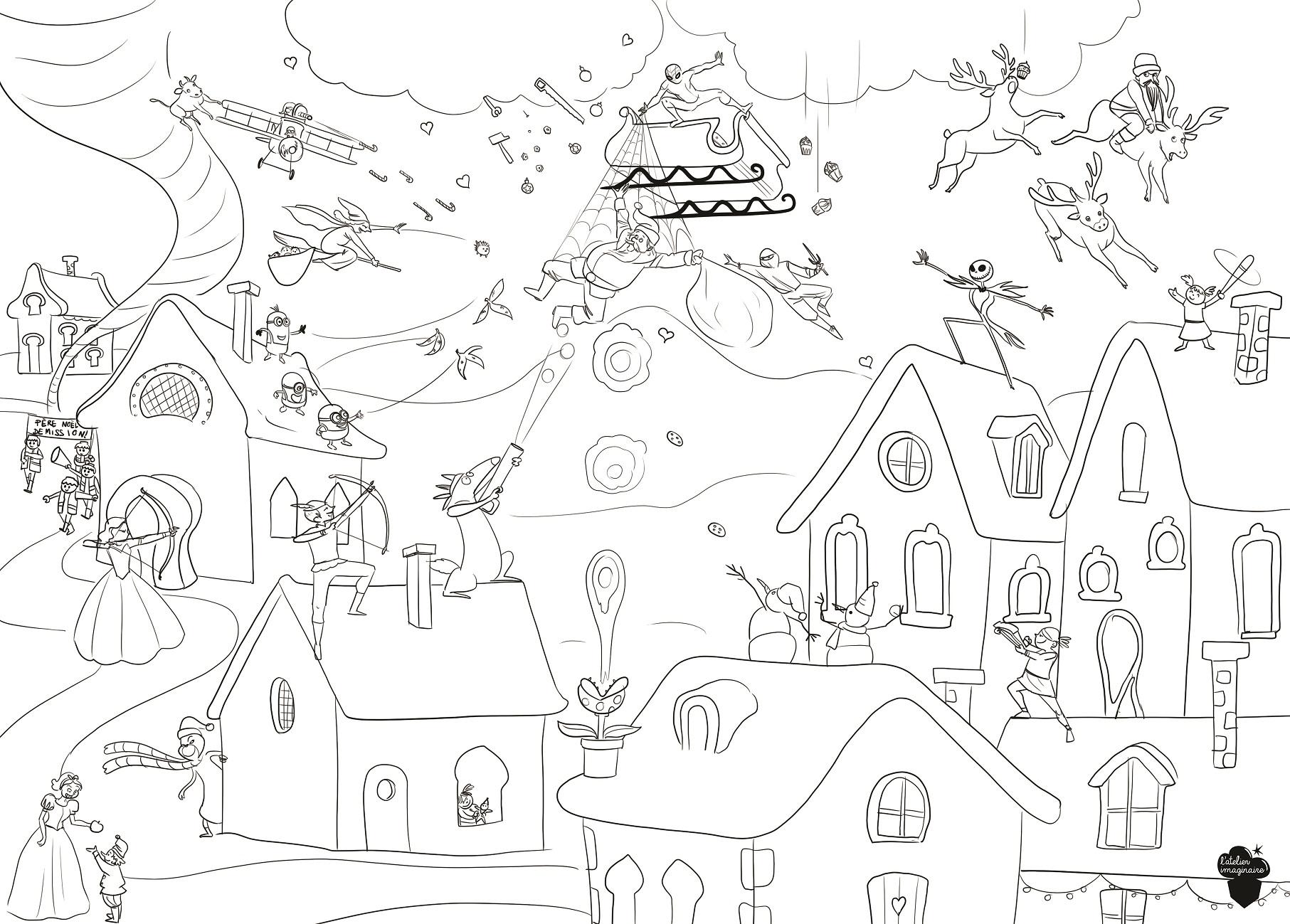 Tous Les Coloriages De L'atelier Imaginaire Sont En Ligne destiné Coloriage Village De Noel