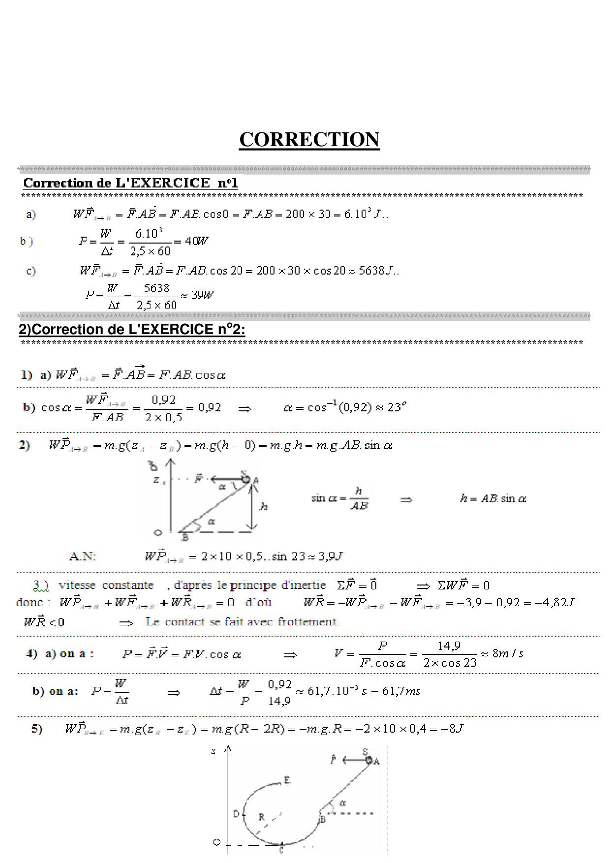 Travail Et Puissance D'une Force - Corrigé Série D'exercices encequiconcerne Exercice De Math Sur Les Puissances