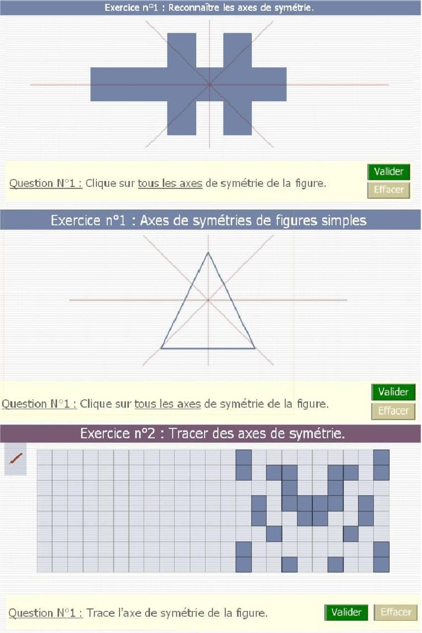 Trois Exercices En Ligne Proposés Par Math En Poche Pour La pour Symétrie En Ligne
