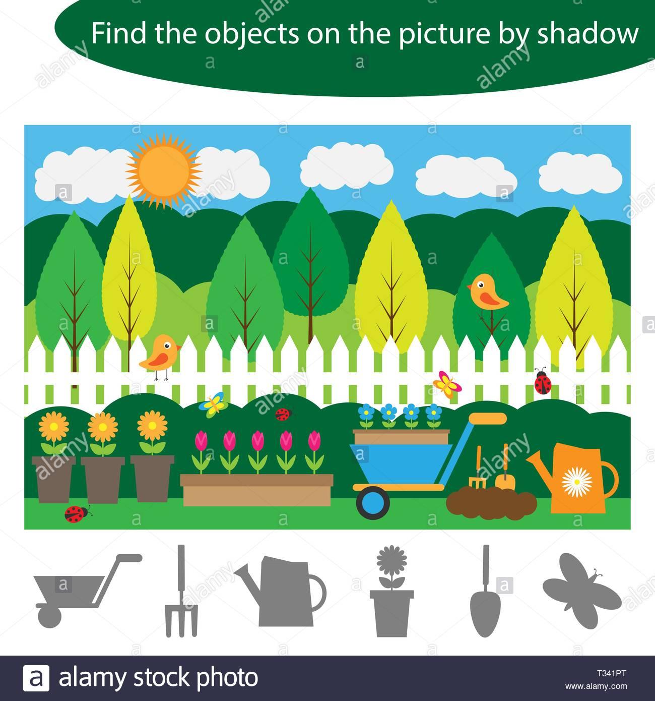 Trouver Des Objets Par L'ombre, Jeu Pour Les Enfants Dans Le intérieur Jeux Trouver Les Objets