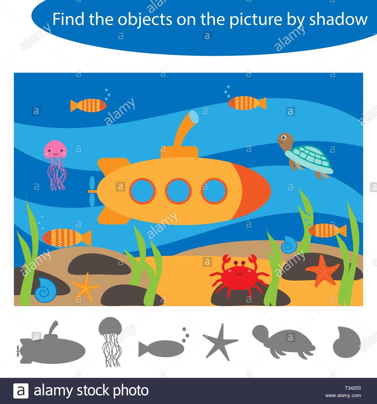 Trouver Les Objets Par Shadow, Marine Jeu Pour Les Enfants serapportantà Jeux Trouver Objet