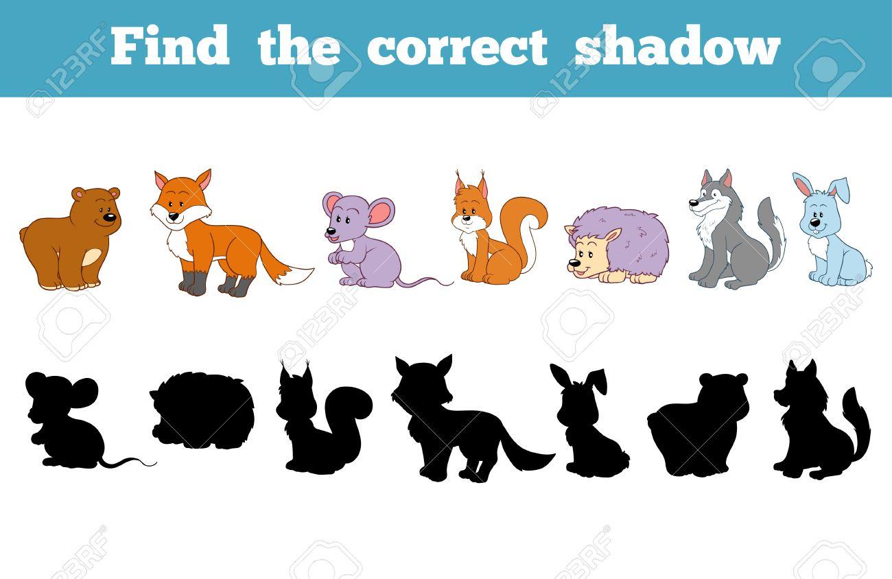 Trouver L'ombre Correcte, L'éducation Jeu Pour Les Enfants (Animaux De La  Forêt) pour Jeux Enfant Animaux