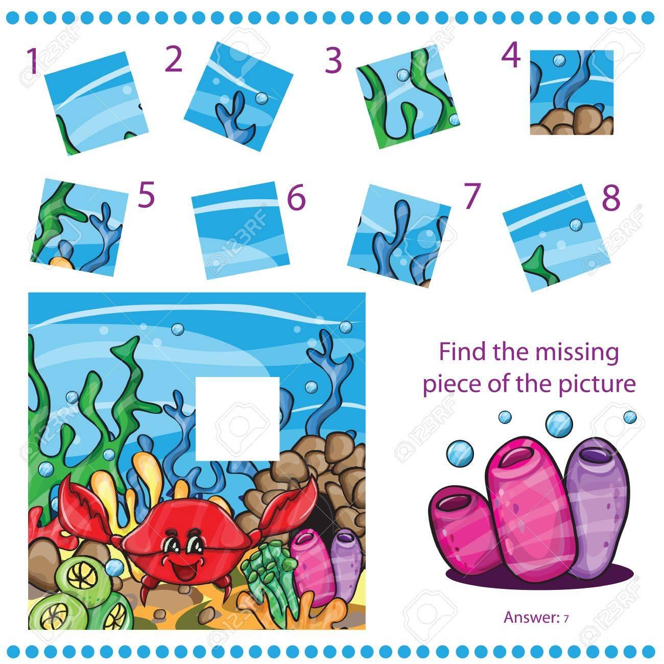 Trouver Pièce Manquante - Jeu De Puzzle Pour Enfants - Avec Du Crabe Drôle avec Jeux De Puzzle Enfant