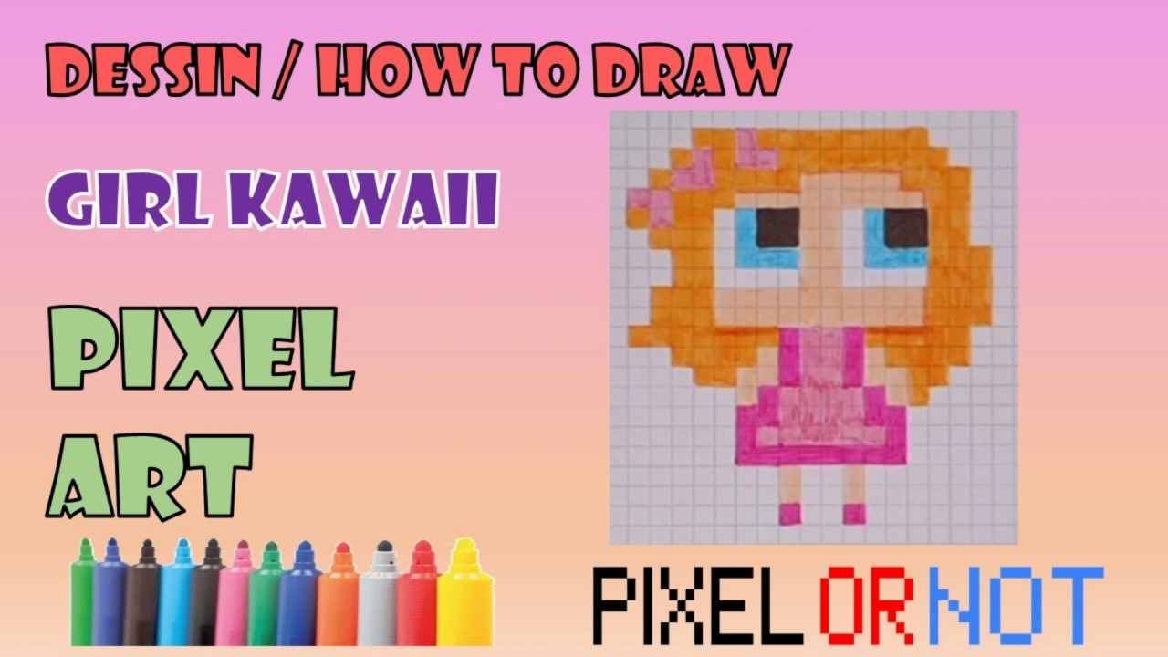 Tuto Pixel Art Drawing : How To Draw A Girl Kawaii (Tuto Pixel Art Drawing) tout Pixel Art Facile Fille