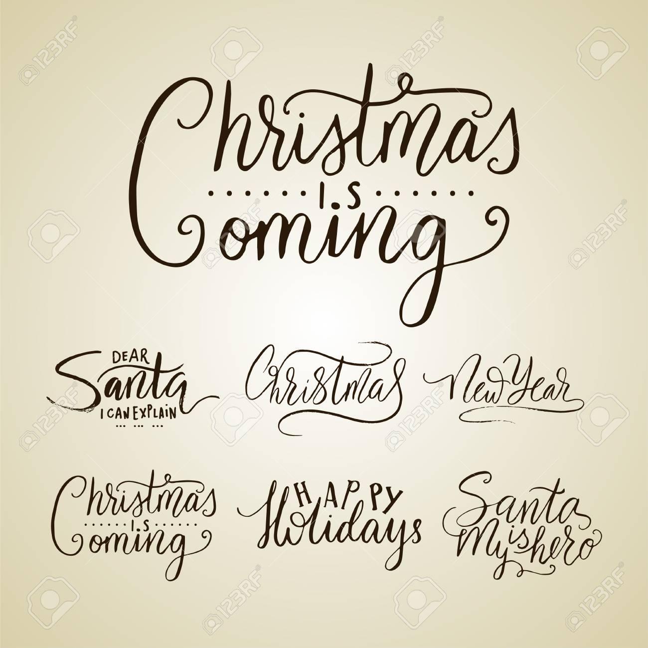 Typographie De Lettrage Joyeux Noël, Écriture De Texte Manuscrite Avec  Lettrage D'hiver Dessinés À La Main. tout Ecriture De Noel A Imprimer