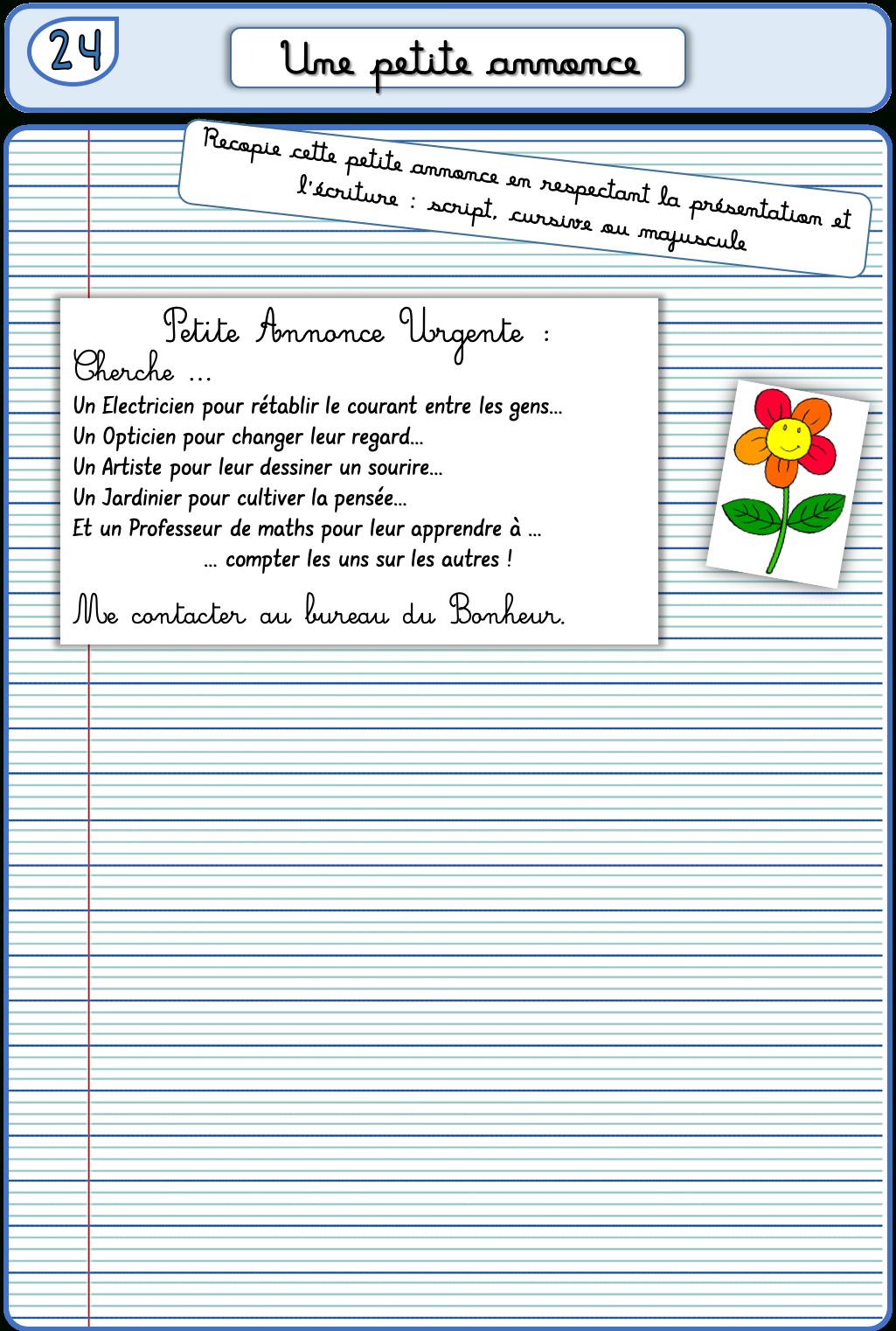 Un Cahier D'écriture Cm1 Cm2, Fiches À Photocopier – La encequiconcerne Ecriture Ce2 À Imprimer