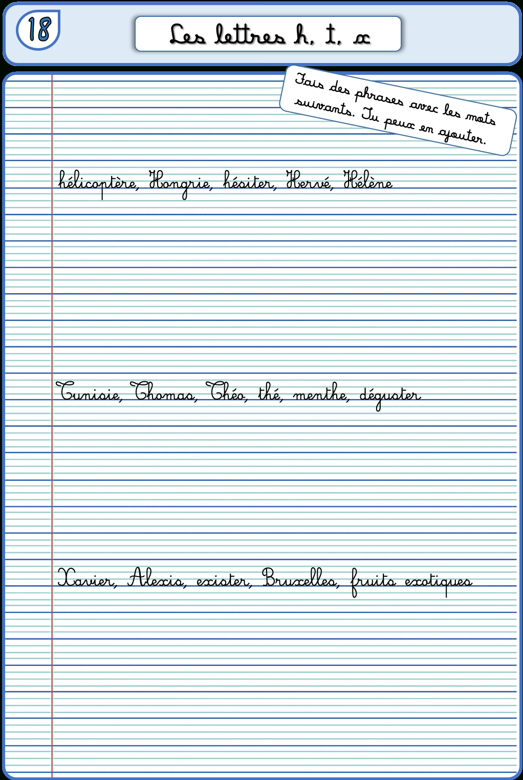 Un Cahier D'écriture Cm1 Cm2, Fiches À Photocopier – La serapportantà Feuille Écriture Cp À Imprimer
