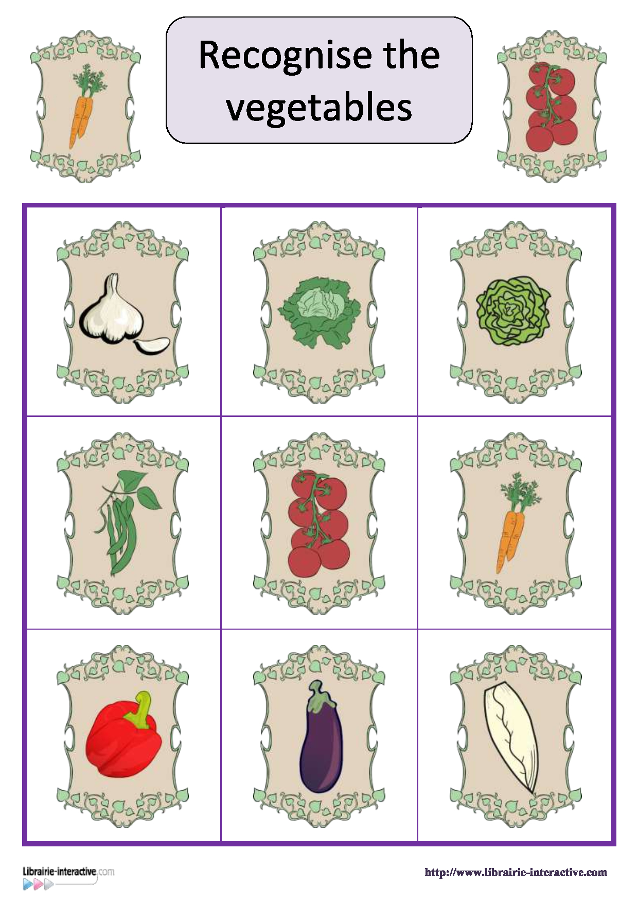 Un Jeu De Loto Pour Apprendre Le Nom Des Légumes En Anglais destiné Nom Legume