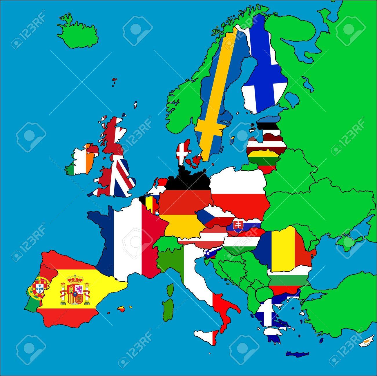 Une Carte De L'europe Avec Tous Les Pays Membres De L'ue Représentés Par  Leurs Drapeaux. concernant Carte Pays Membre De L Ue