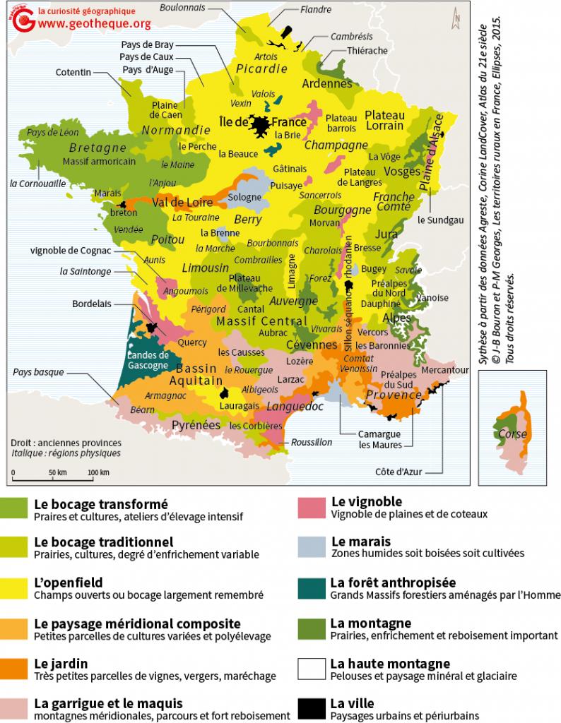 """Une Carte Des Paysages Français, En Complément Du """"bouron pour Image De La Carte De France"""