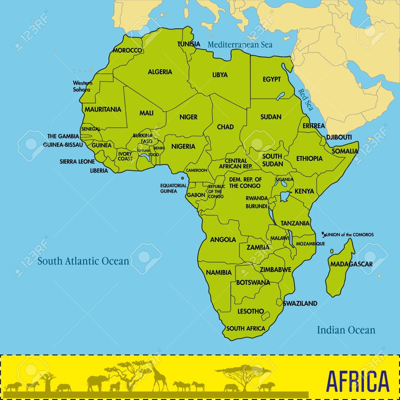 Une Carte Politique Très Détaillée Du Continent, Située Sur La Plaque  Continentale Africaine Avec Tous Les Pays Et Leurs Capitales. Illustration tout Pays Et Leurs Capitales