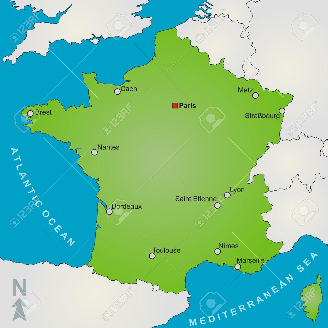 Une Carte Stylisée De Montrant Plusieurs Grandes Villes De France Et À  Proximité De Pays. serapportantà Carte France Principales Villes