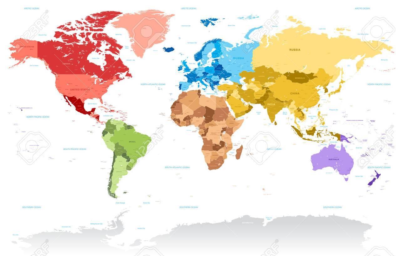 Une Carte Très Très Détaillée Vecteur Du Monde, Avec Tous Les Pays, Les  Capitales, Et De Nombreux Noms De Ville, Le Tout Organisé Avec Des Couches intérieur Carte Du Monde Avec Capitales Et Pays