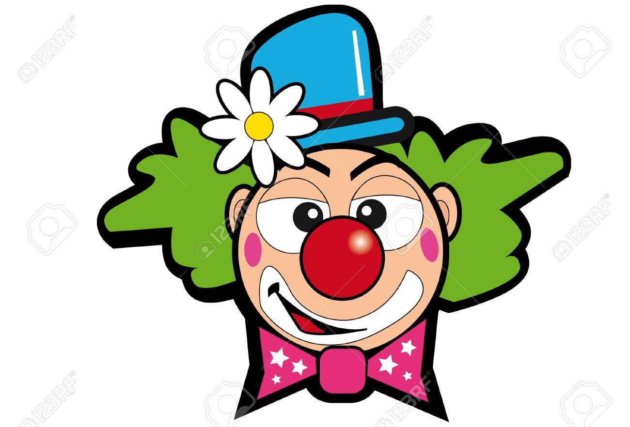 Une Tête De Clown Avec Une Fleur. serapportantà Dessin De Clown En Couleur