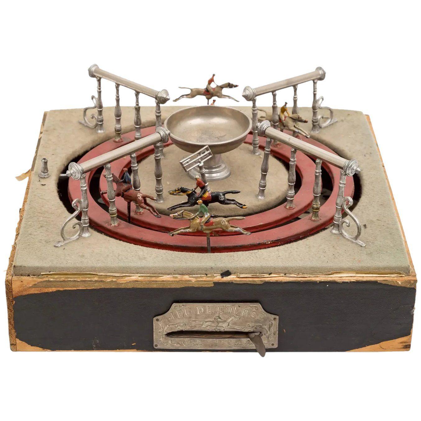 Unusual 1910 French 'jeu De Course' Mechanical Horse Racing encequiconcerne Jeux De Course Online