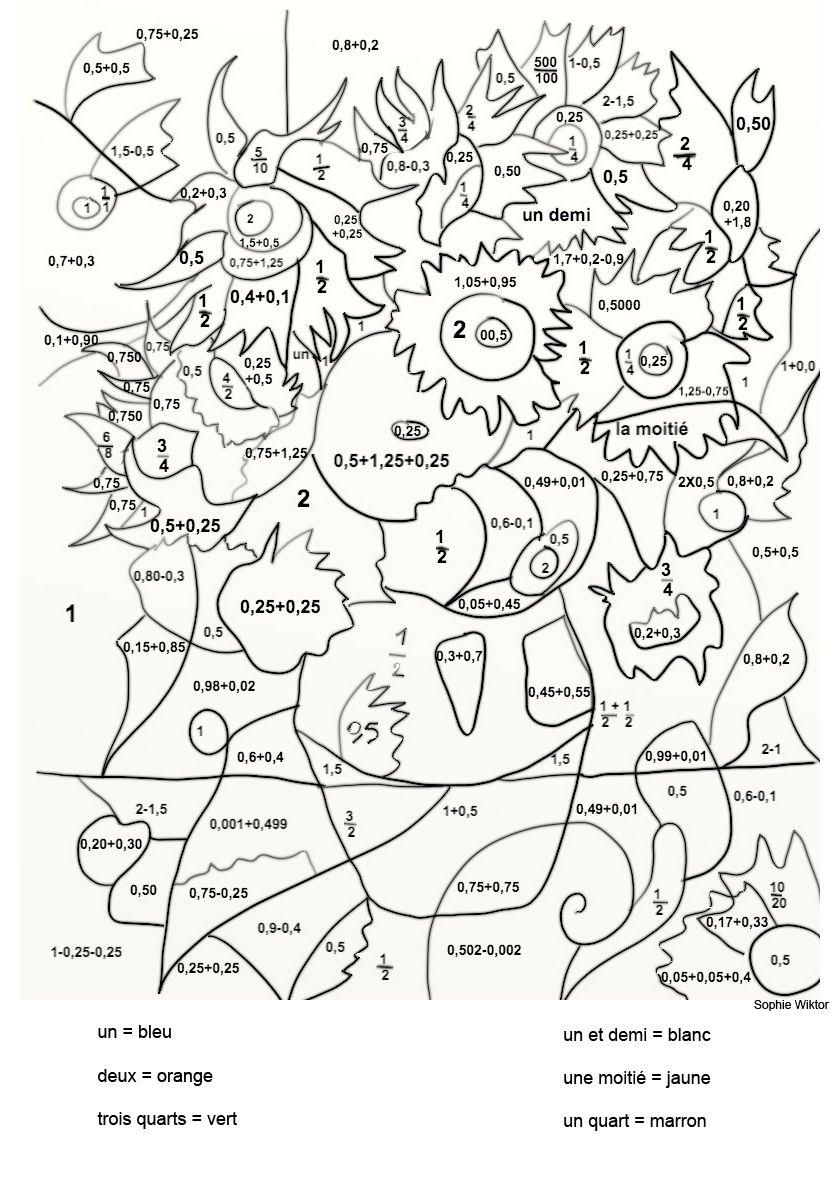 Van Gogh : Les Tournesols - Coloriage Magique Sur Les destiné Jeux De Coloriage Magique Cm1