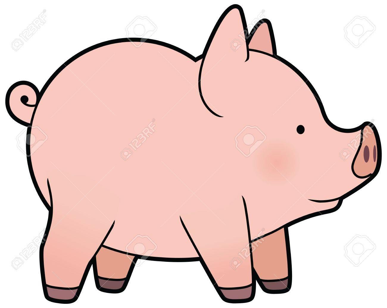 Vecteur De Dessin Animé Mignon Petit Cochon dedans Dessin De Cochon En Couleur