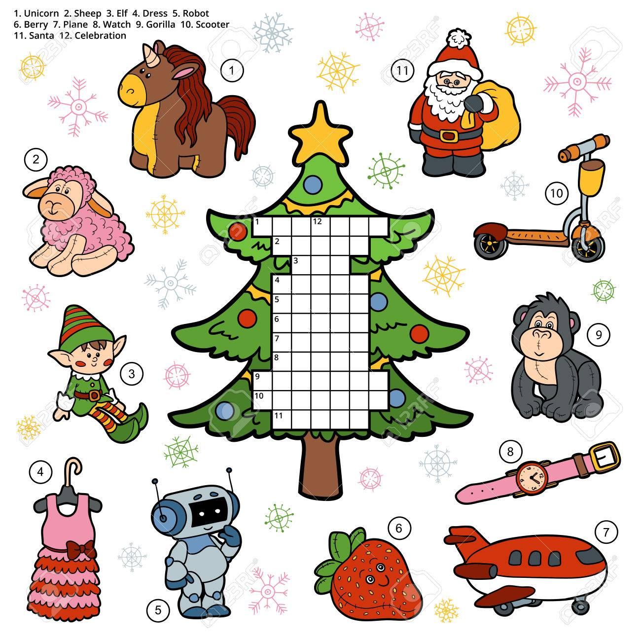 Vecteur De Mots Croisés, Jeu Éducatif Pour Les Enfants Sur Les Cadeaux De  Noël Et Des Cadeaux dedans Mots Meles Jeu