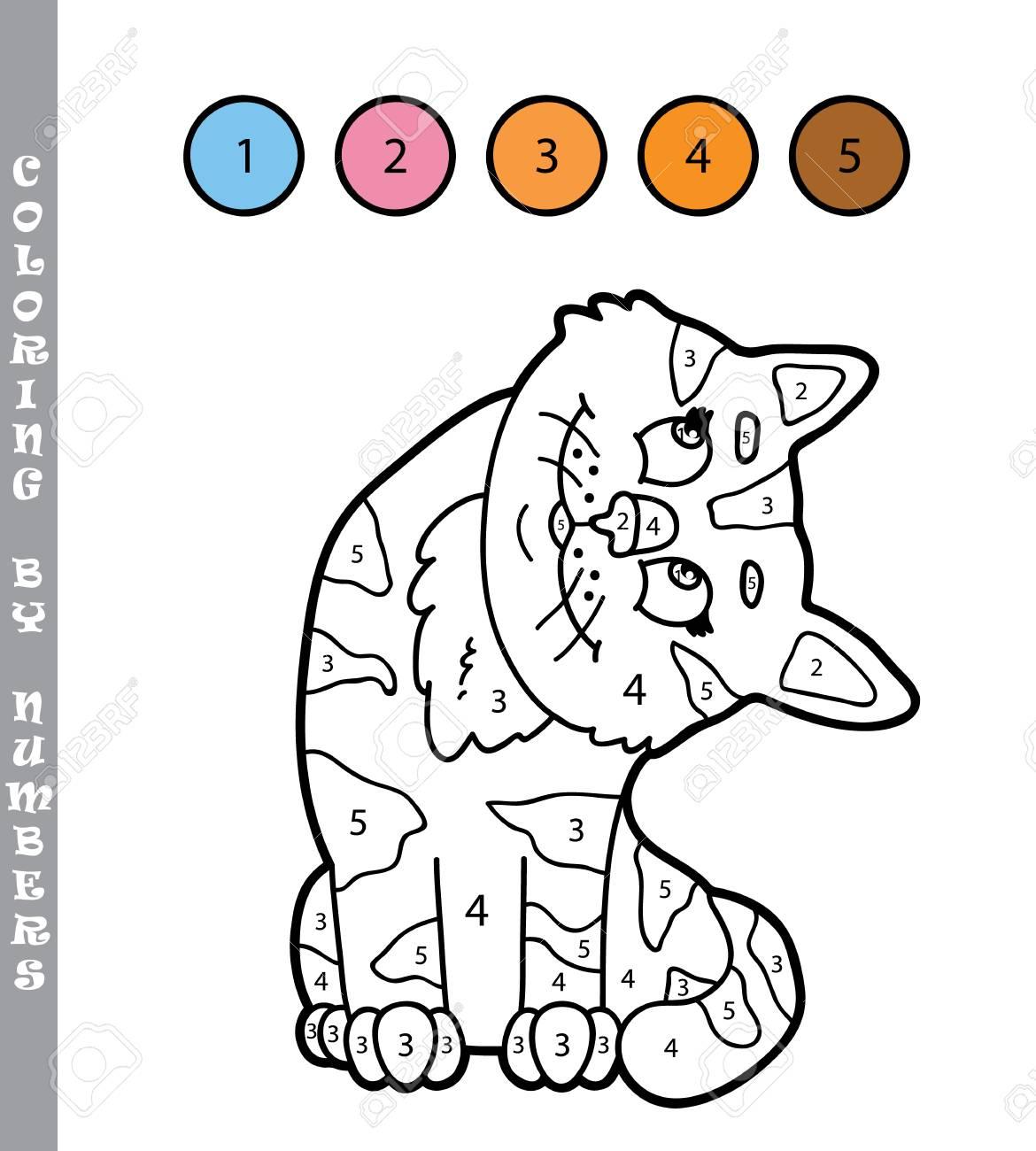 Vector Illustration Coloriage Par Numéros Jeu Éducatif Avec Personnage De  Chat De Dessin Animé Pour Les Enfants pour Jeux De Dessin De Chat