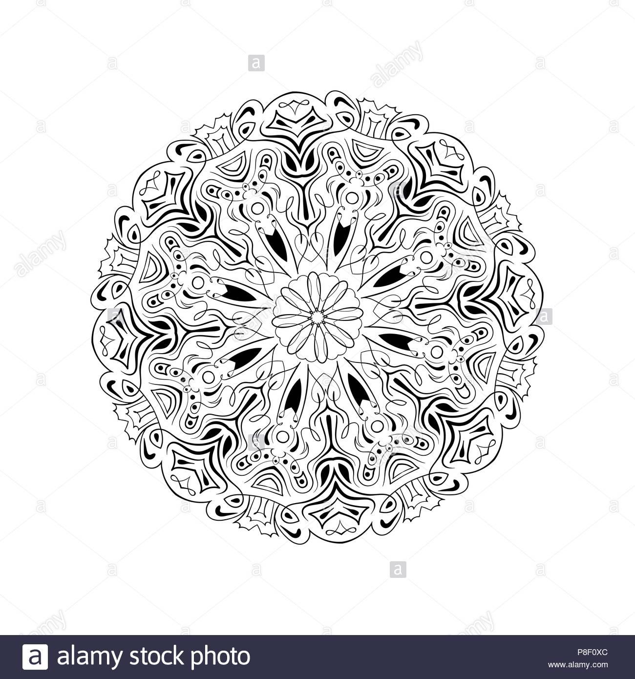 Vector, Imprimer Au Henné. Fleur Mandala, Coloriage destiné Coloriage Graphique