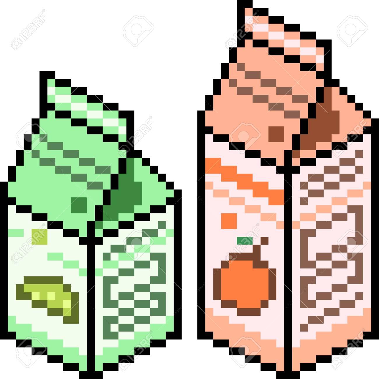 Vector Pixel Art Juice Package Isolated dedans Pixel Art Fraise