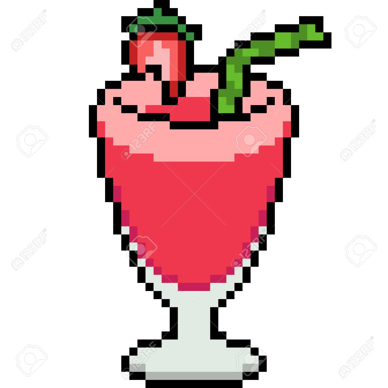 Vector Pixel Art Strawberry Juice Isolated destiné Pixel Art Fraise