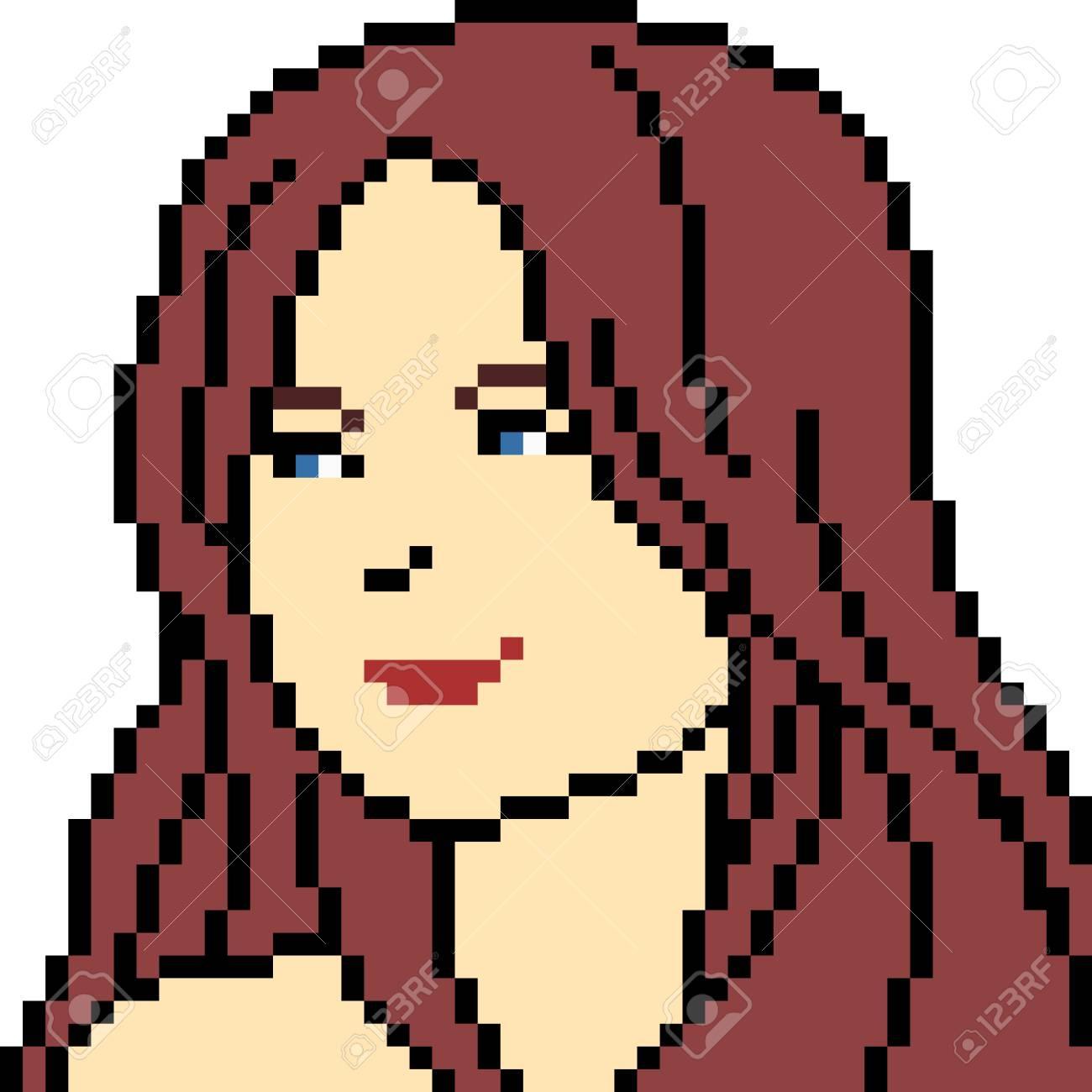 Vector Pixel Art Woman Portrait Isolated dedans Pixel Art Facile Fille