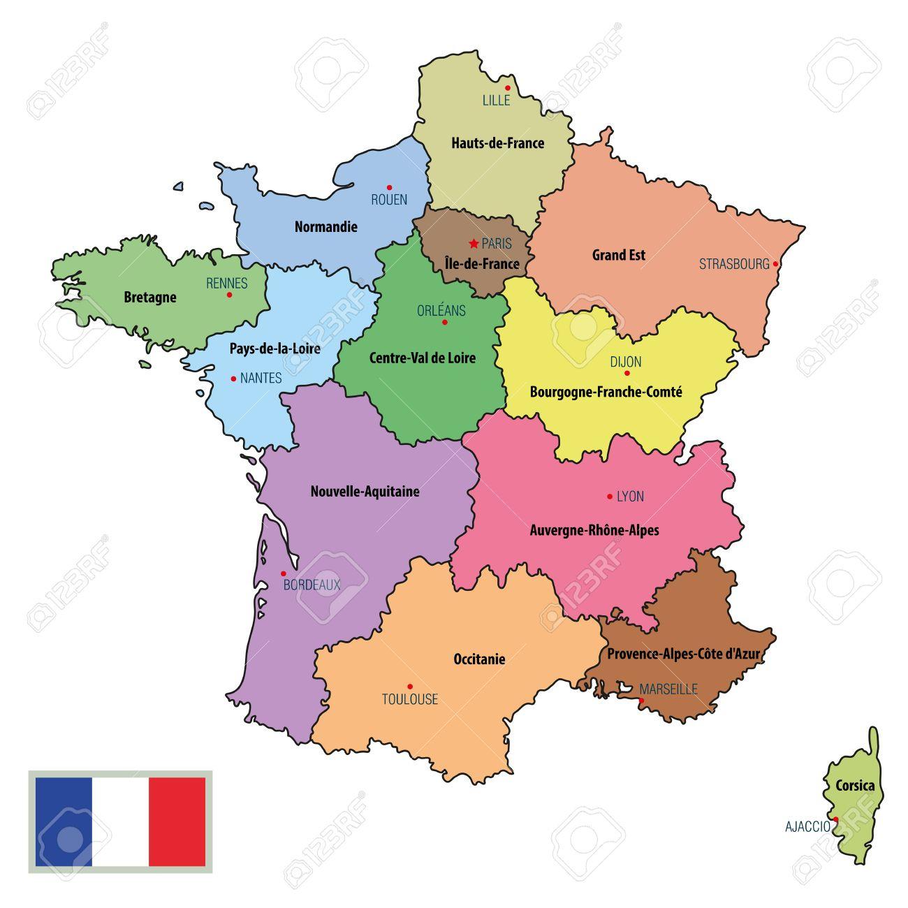 Vector Une Carte Politique Très Détaillée De La France Avec Les Régions Et  Leurs Capitales. Tous Les Éléments Sont Séparés Dans Des Calques intérieur Carte Du Sud De La France Détaillée