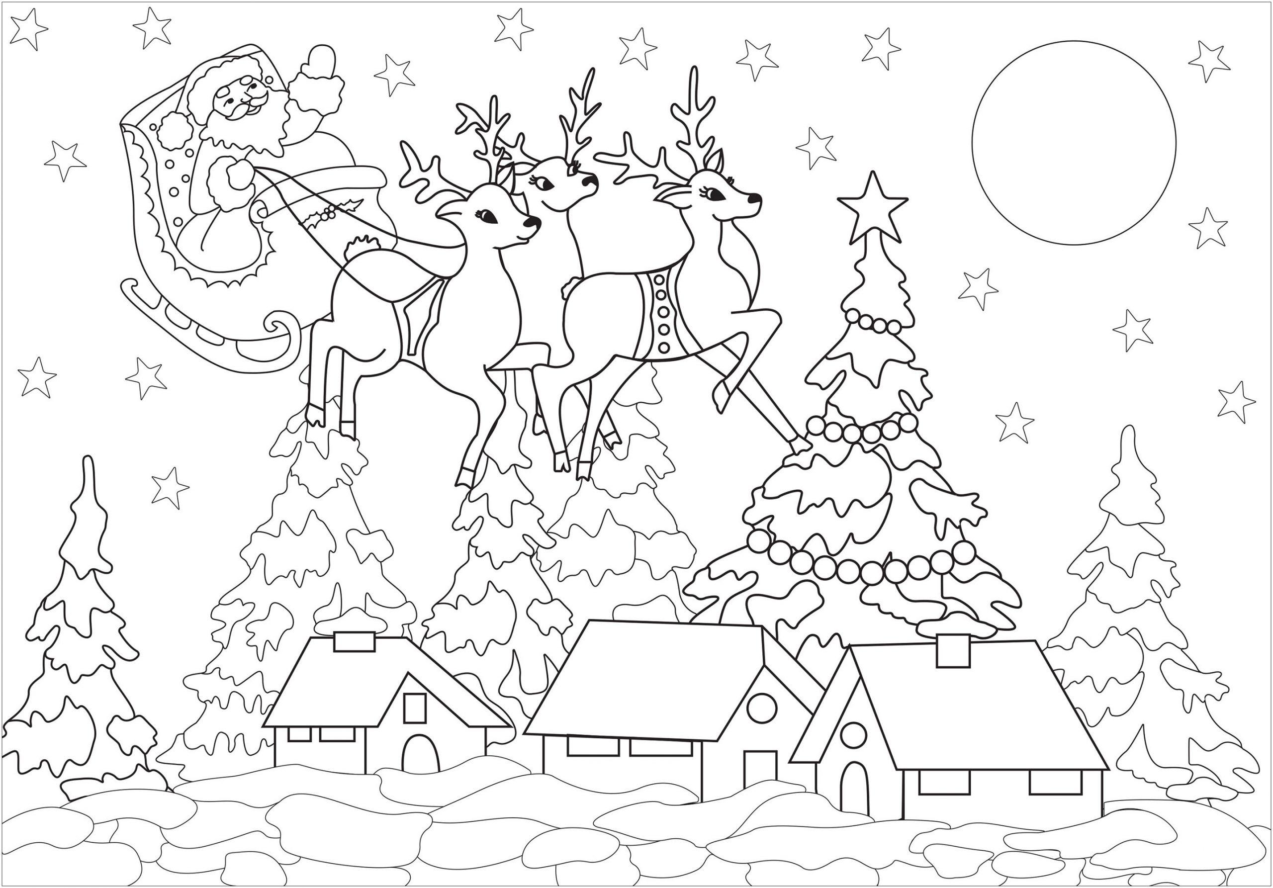 Village De Noël Et Père Noël - Noël - Coloriages Difficiles tout Coloriage Village De Noel