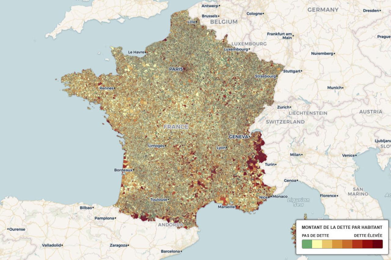 Villes Endettées : Levallois Toujours N°1, Paris Entre Dans destiné Carte De La France Avec Toutes Les Villes