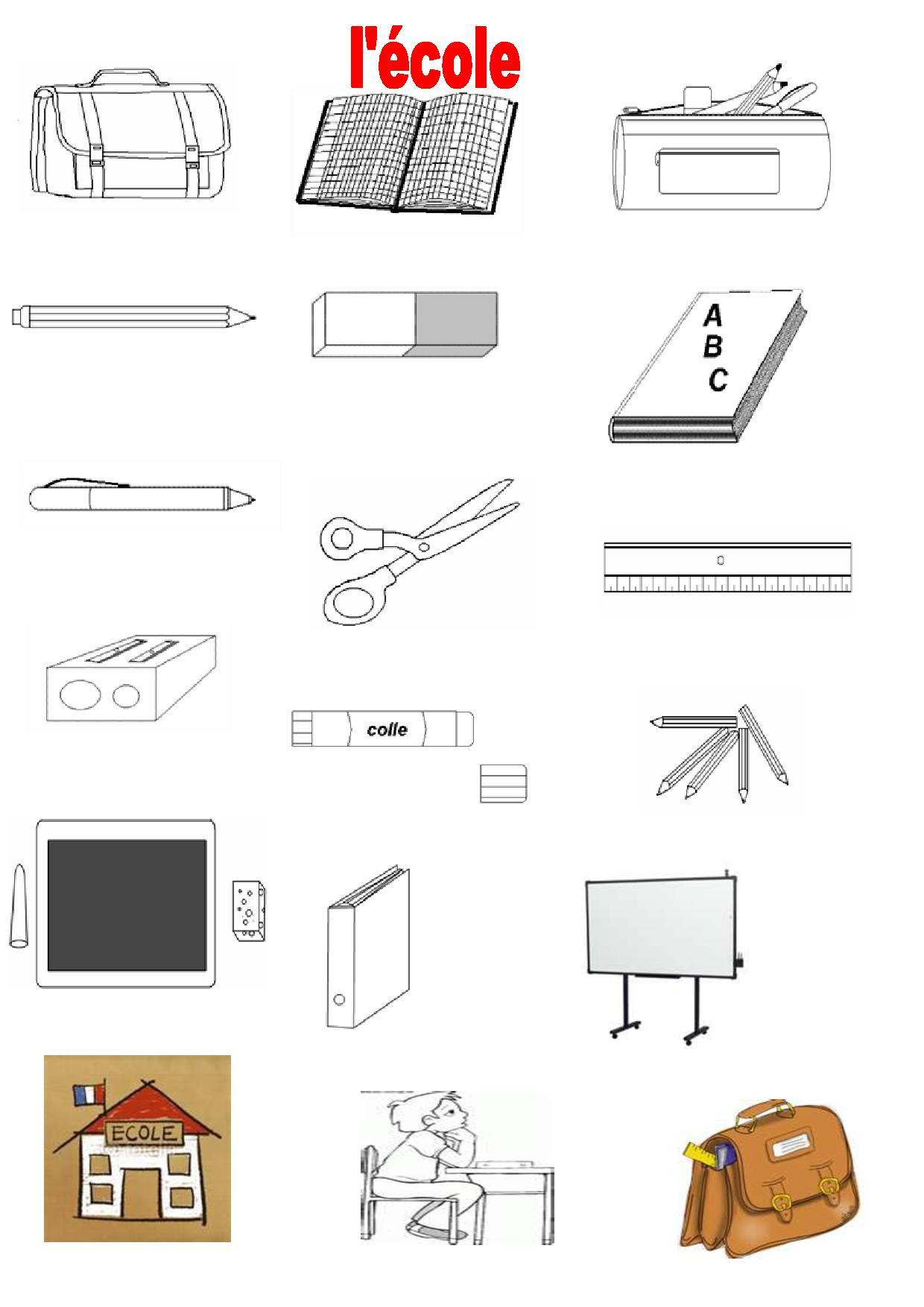 Vocabulaire 2, Imagiers, École, La Classe, Le Tableau concernant Imagier Ecole