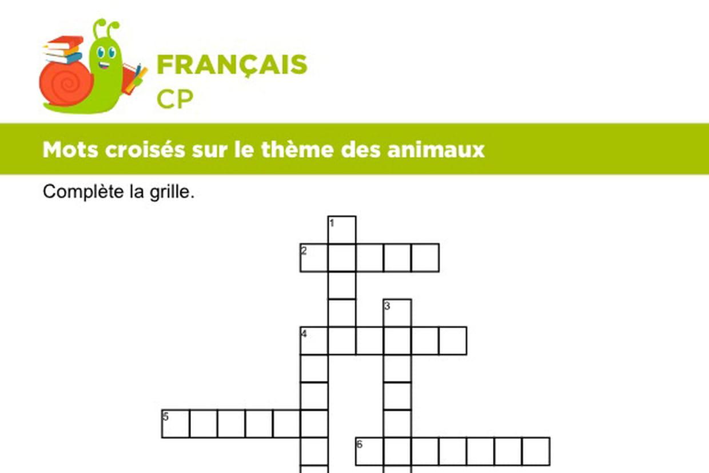 Vocabulaire, Mots Croisés Sur Le Thème Des Animaux Série 6 pour Jeux Fleches En Ligne