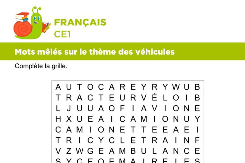 Vocabulaire, Mots Mêlés Sur Le Thème Des Véhicules pour Mots Meles Gratuits En Français
