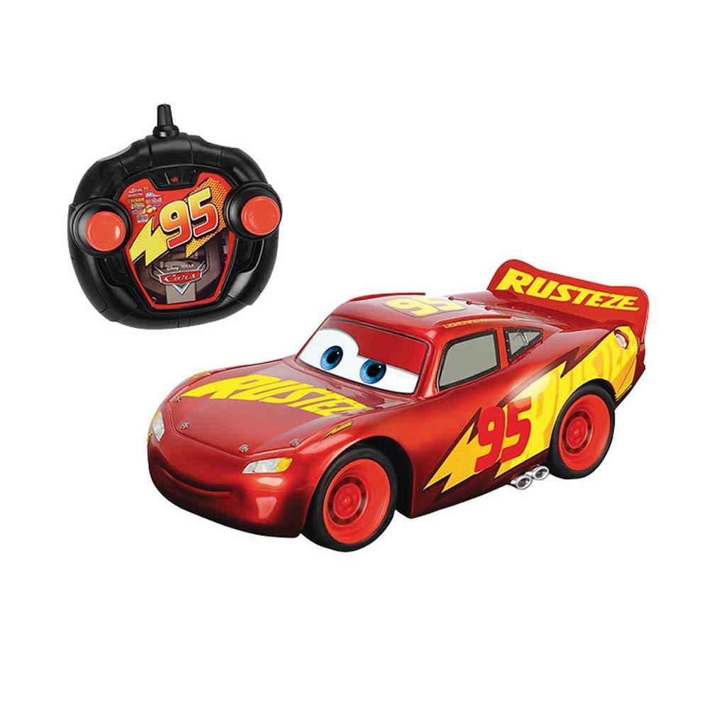 Voiture Radiocommandé Cars Flash Mac Queen Rouge Et Jaune avec Le Jeu De La Voiture Jaune