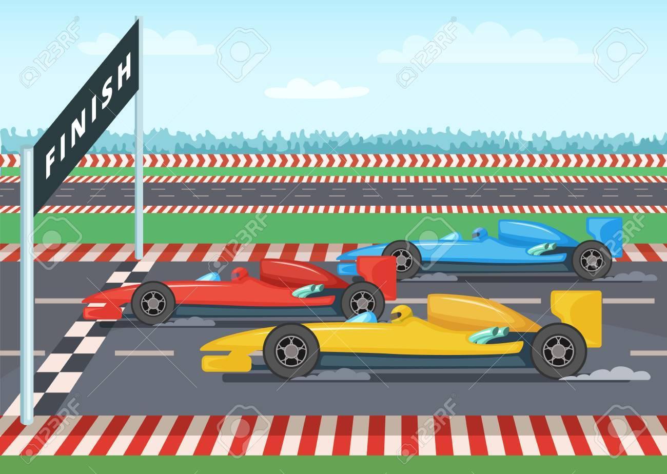 Voitures De Course Sur La Ligne D'arrivée. Illustration De Fond De Sport avec Course Voiture En Ligne