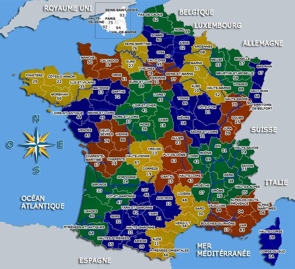 Voyage En France: L'organisation Territoriale De La France destiné Carte De France Par Régions Et Départements