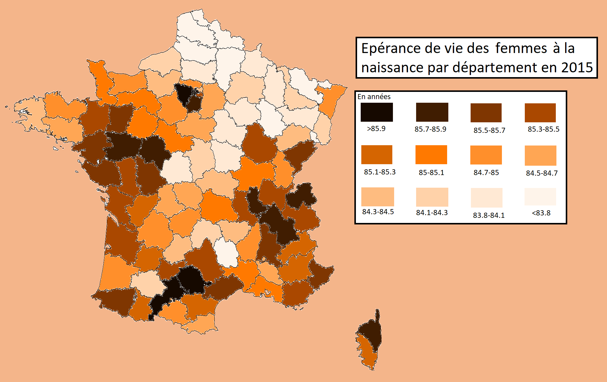 Week 12: Women's Life Expectancy At Birth By Departement In tout Departement 12 En France