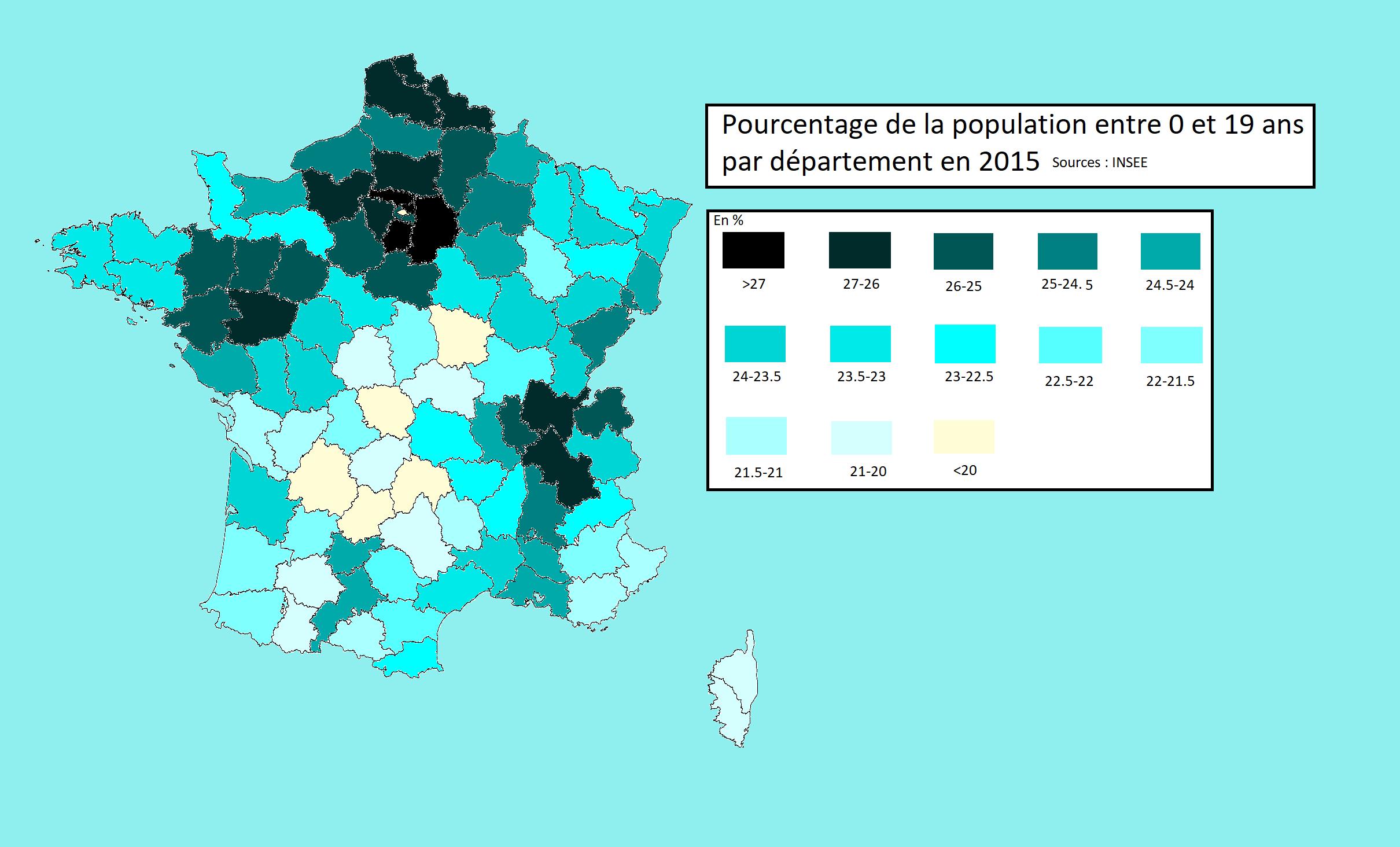Week 4: Percentage Of People Between 0 And 19 Years Old In à Departement 12 En France